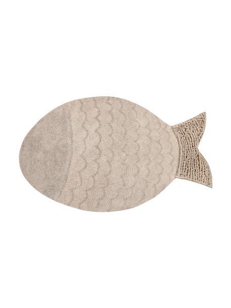 Alfombra lavable Big Fish, Parte superior: 97%algodón, 3%algodón r, Reverso: algodón reciclado, Beige, An 110 x L 180 cm