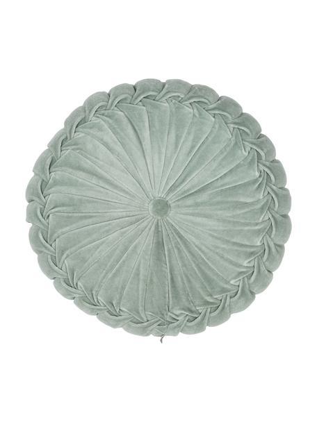 Cojín redondo de terciopelo Kanan, con relleno, 100%terciopelo de algodón, Menta, Ø 40 cm