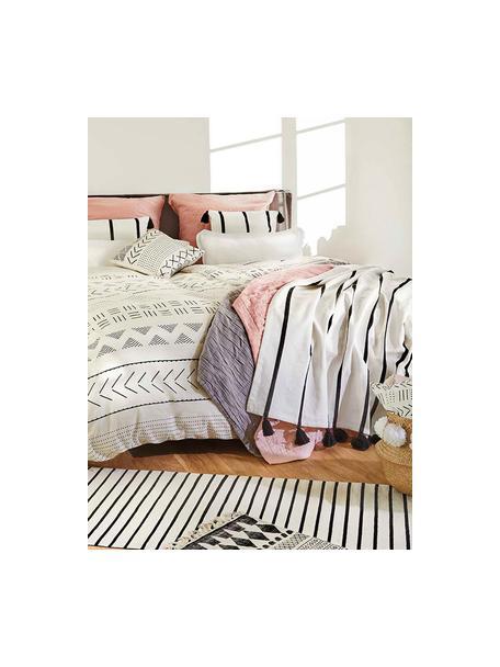 Poszewka na poduszkę Hekli, Ecru, czarny, S 40 x D 40 cm