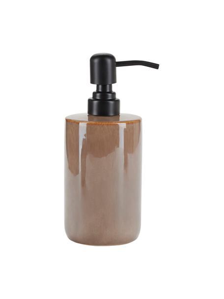 Dozownik do mydła z ceramiki Tin, Brązowy, czarny, Ø 8 x W 13 cm