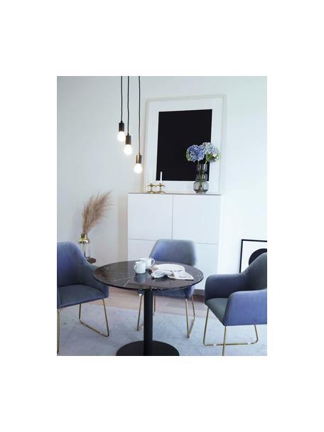 Lámpara de techo pequeña cluster Sky, Estructura: latón pintado, Anclaje: latón pintado, Cable: cubierto en tela, Negro, Ø 25 cm