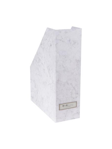 Tijdschriftencassette Viktoria, Organizer: stevig gelamineerd karton, Gemarmerd wit, 10 x 32 cm