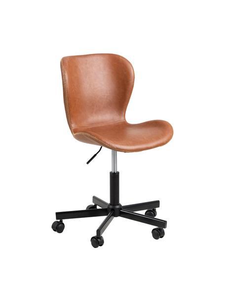 Kunstleren bureaustoel Batilda, in hoogte verstelbaar, Bekleding: kunstleer, Poten: gepoedercoat metaal, Wieltjes: kunststof, Cognackleurig, zwart, B 54 x D 48 cm