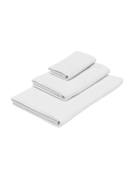Komplet ręczników z piki Karima, 3 elem., Biały, Komplet z różnymi rozmiarami