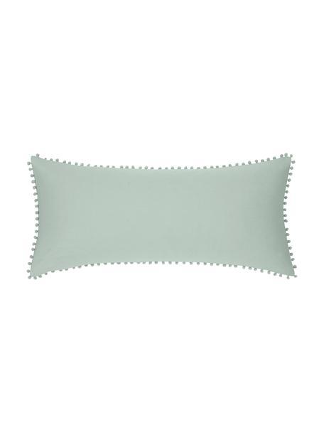 Baumwollperkal-Kopfkissenbezüge Bommy mit Pompoms, 2 Stück, Webart: Perkal Fadendichte 200 TC, Salbeigrün, 40 x 80 cm