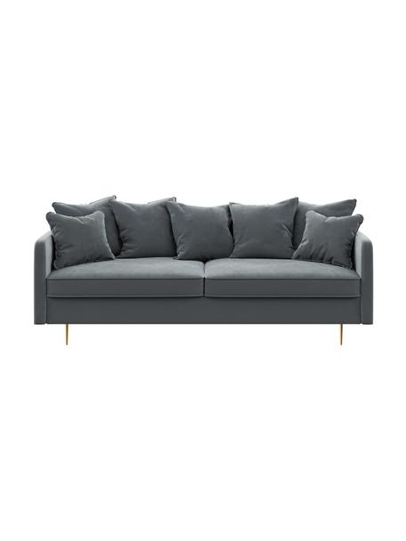 Sofa z aksamitu Esme (3-osobowa), Tapicerka: 100% aksamit poliestrowy , Nogi: metal powlekany, Aksamitny stalowy szary, S 214 x G 96 cm
