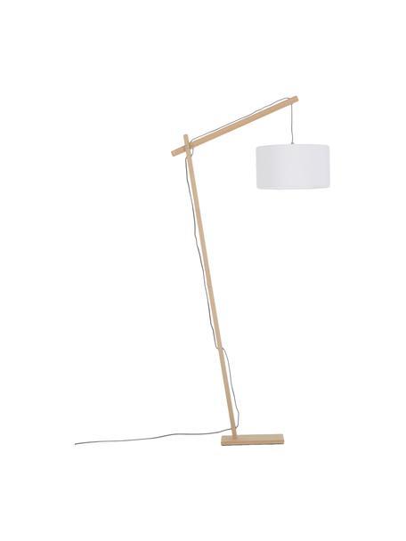 Scandi leeslamp Woody, Lampenkap: katoenmix, Lampvoet: metaal met houtfineer, Houtfineer, wit, 81 x 166 cm