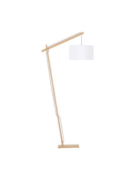 Lampada da terra scandi Woody, Paralume: misto cotone, Base della lampada: metallo con impiallacciat, Legno impiallacciato, bianco, Alt. 166 x Larg. 81 cm