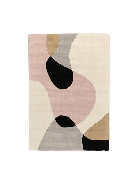 Alfombra artesanal de lana Matrix Arc, Parte superior: 100%lana, Reverso: algodón, Tonos beige, rosa, gris claro, negro, An 120 x L 170 cm (Tamaño S)