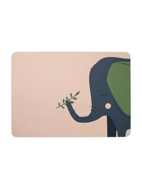 Placemat Leo Emma Elefant, 2 stuks, PVC met leren look, Lichtroze, blauw, groen, 33 x 46 cm