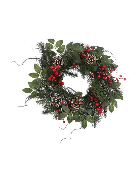 Ghirlanda natalizia artificiale Jackson, Materiale sintetico, Verde, rosso, marrone, Ø 40 cm