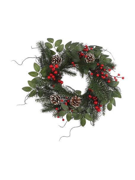 Künstlicher Weihnachtskranz Jackson, Kunststoff, Grün, Rot, Braun, Ø 40 cm