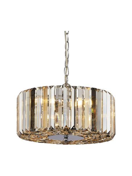 Pendelleuchte Crystals aus transparentem Glas, Lampenschirm: Glas, Baldachin: Stahl, Chrom, Ø 35 x H 15 cm