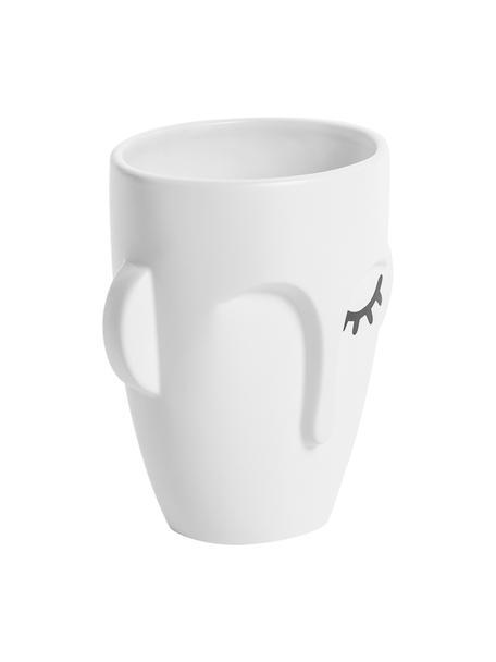 Vaso viso in ceramica bianca Amenna, Ceramica, Bianco, nero, Larg. 16 x Alt. 18 cm