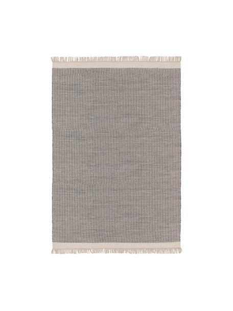 Handgewebter Wollteppich Kim in Grau/Creme, mit Fransen, 80% Wolle, 20% Baumwolle  Bei Wollteppichen können sich in den ersten Wochen der Nutzung Fasern lösen, dies reduziert sich durch den täglichen Gebrauch und die Flusenbildung geht zurück., Grau, Creme, B 80 x L 120 cm (Größe XS)