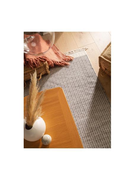 Alfombra artesanal de lana con flecos Kim, 80%lana, 20%algodón Las alfombras de lana se pueden aflojar durante las primeras semanas de uso, la pelusa se reduce con el uso diario, Gris, crema, An 80 x L 120 cm (Tamaño XS)