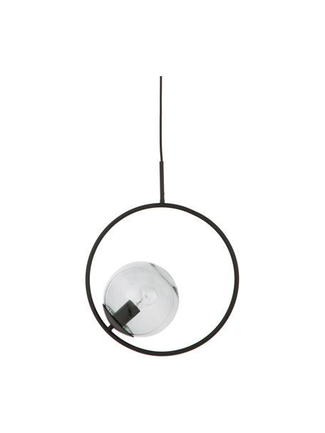 Hanglamp Chloe van rookglas, Lampenkap: glas, Grijs, zwart, 40 x 51 cm