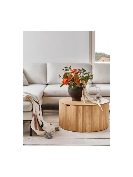 Holz-Couchtisch Nele mit Stauraum, Mitteldichte Holzfaserplatte (MDF) mit Eschenholzfurnier, Hellbraun, Ø 70 x H 36 cm