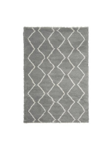 Hochflor-Teppich Velma in Grau/Creme, Flor: 100% Polypropylen, Grau, Cremeweiß, B 120 x L 180 cm (Größe S)