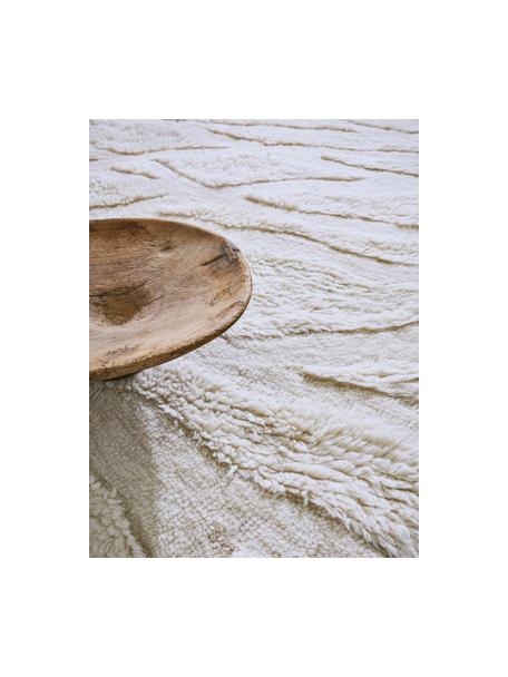 Waschbarer Wollläufer Enkang Ivory mit Hoch-Tief-Struktur und Quasten, Flor: 100% Wolle, Gebrochenes Weiß, 70 x 200 cm