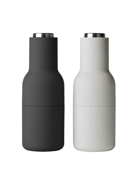 Mühlenset Bottle Grinder, 2-tlg., Korpus: Kunststoff, Mahlwerk: Keramik, Deckel: Edelstahl, Anthrazit, Hellgrau, Ø 8 x H 21 cm