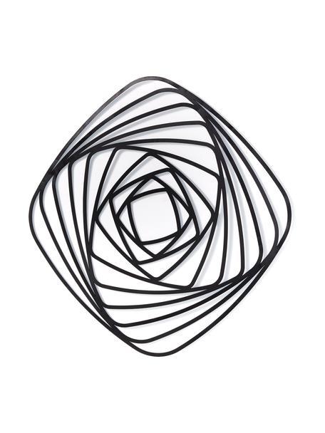 Wandobject Universe van metaal, Gecoat staal, Zwart, 69 x 69 cm