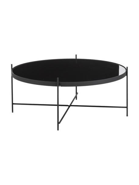 Mesa de centro redonda Cupid, tablero de cristal, Estructura: hierro con pintura en pol, Tablero: vidrio negro, Negro, Ø 83 x Alto 35 cm