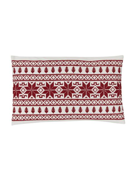 Bestickte Kissenhülle Orkney mit Norweger-Muster, 100% Baumwolle, Rot, 30 x 50 cm