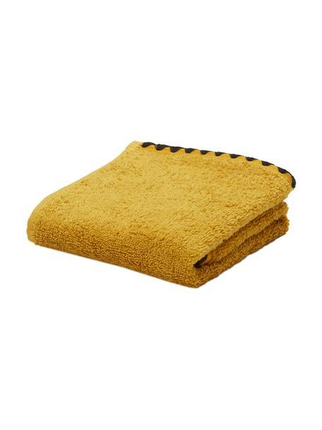 Handtuch Issey in verschiedenen Größen, mit bestickter Borte, Gelb, Schwarz, Gästehandtuch
