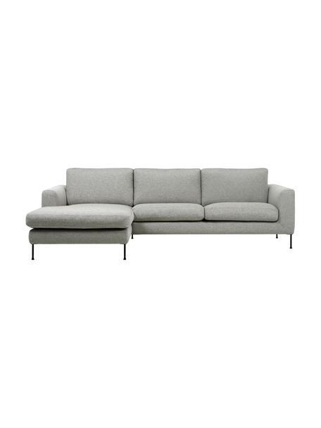 Ecksofa Cucita (3-Sitzer) in Hellgrau mit Metall-Füssen, Bezug: Webstoff (Polyester) Der , Gestell: Massives Kiefernholz, Webstoff Hellgrau, B 262 x T 163 cm