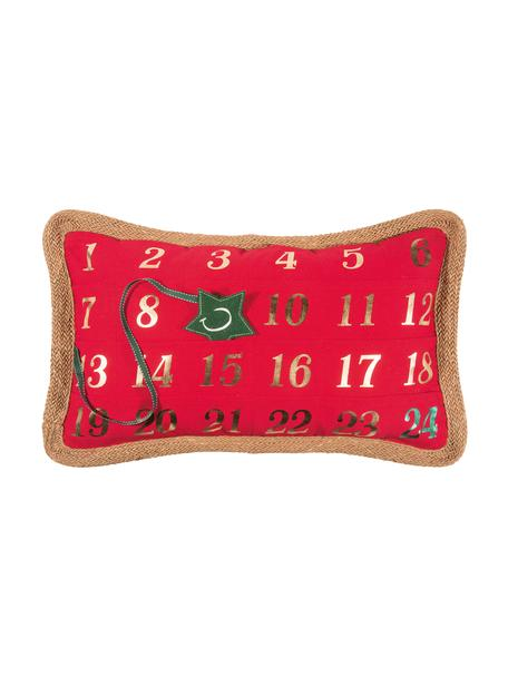 Funda de cojín Advent, 95%poliéster, 5%lino, Rojo, verde, An 35 x L 60 cm