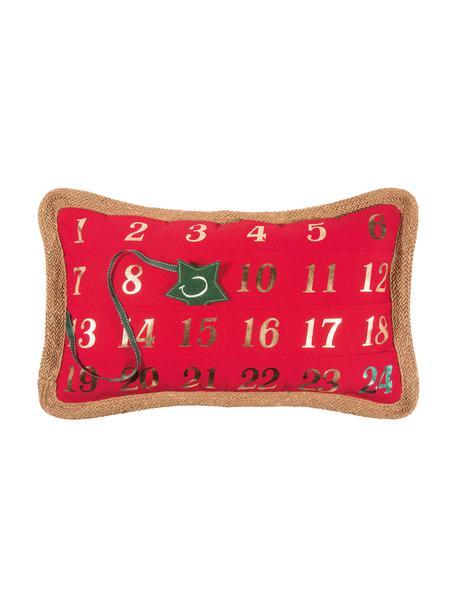 Poszewka na poduszkę Advent, 95% poliester, 5% len, Czerwony, zielony, S 35 x D 60 cm