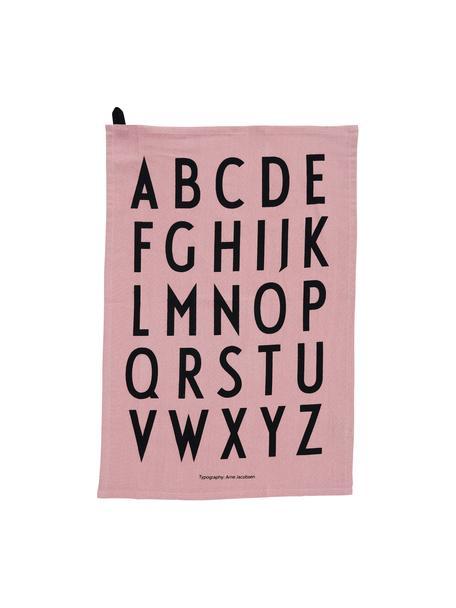 Katoenen theedoeken Classic in roze met design letters, 2 stuks, Katoen, Roze, zwart, 40 x 60 cm
