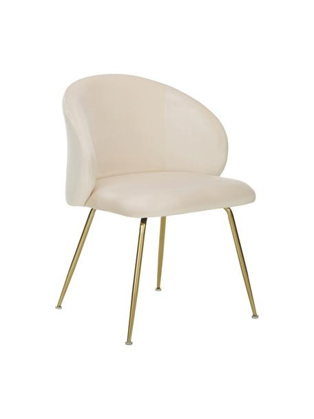Krzesło tapicerowane z aksamitu Luisa, 2 szt., Nogi: metal lakierowany, Aksamitny kremowobiały, złoty, S 59 x G 58 cm