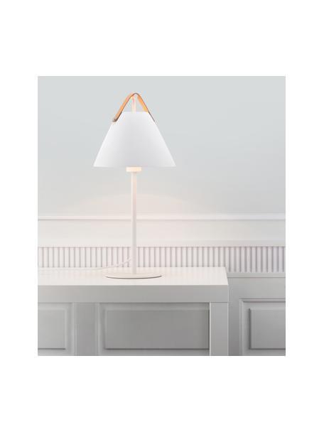 Grote tafellamp Strap met vervangbare leren band, Lampenkap: gepoedercoat messing, Lampvoet: gepoedercoat messing, Decoratie: runderleer, Wit, Ø 25 x H 55 cm