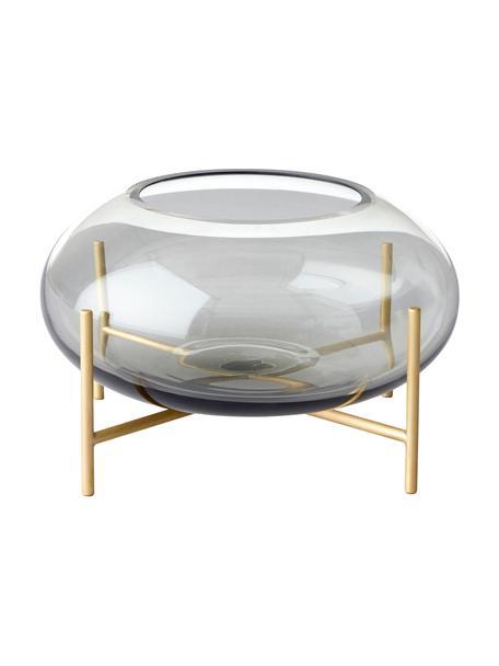 Świecznik na podgrzewacze Hurricane, Mosiądz, szczotkowany Szkło, Mosiądz, szary, Ø 14 x W 9 cm