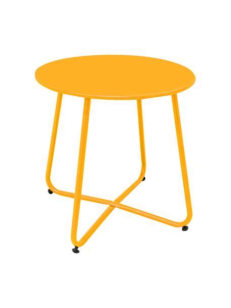 Outdoor bijzettafel Luna in geel, Geëpoxideerd staal, Mosterdgeel, Ø 45 x H 45 cm