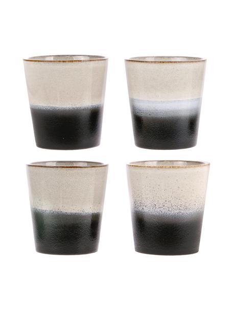 Set 4 tazze senza manico fatte a mano stile retrò 70's, Gres, Nero, bianco, Ø 8 x Alt. 8 cm