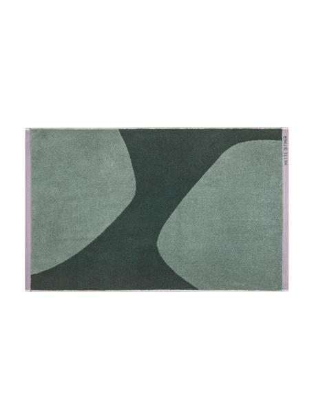 Tappeto bagno in cotone biologico verde con motivo astratto Rock, 100% cotone biologico, Verde, verde scuro, Larg. 50 x Lung. 80 cm