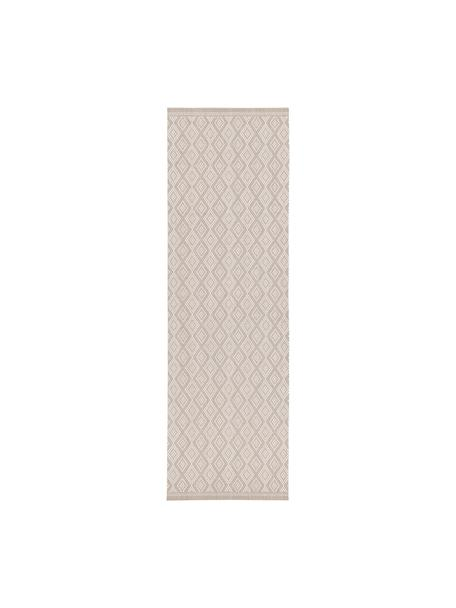 Alfombra de interior/exterior Capri, 86% polipropileno, 14% poliéster, Blanco, beige, An 80 x L 250 cm