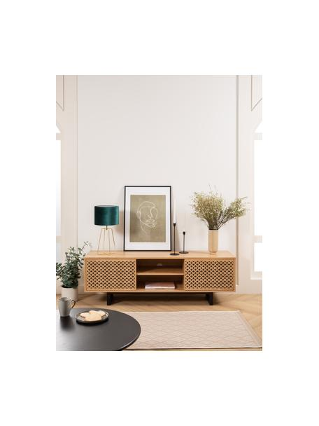 Alfombra de interior/exterior Capri, 86%polipropileno, 14%poliéster, Blanco, beige, An 80 x L 250 cm
