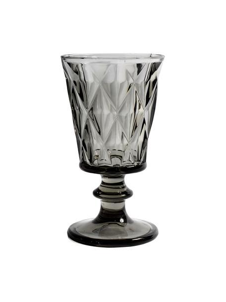 Vintage Weingläser Diane mit Relief, 6 Stück, Glas, Rauchgrau, leicht transparent, Ø 9 x H 16 cm
