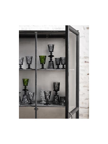 Copas de vino con relive Diamond, 6uds., Vidrio, Gris oscuro, ligeramente transparente, Ø 9 x Al 16 cm