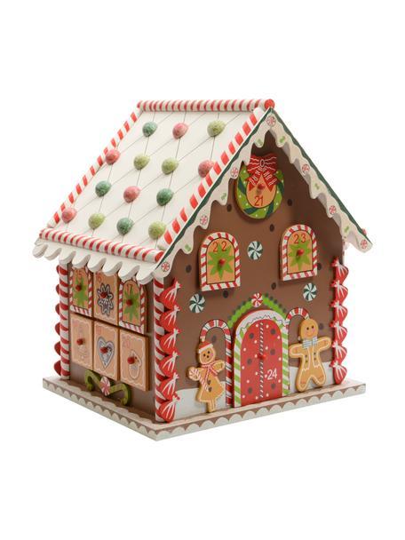 Calendario dell'avvento House, Pannello di fibra a media densità (MDF) rivestito, Marrone, multicolore, Larg. 23 x Alt. 27 cm