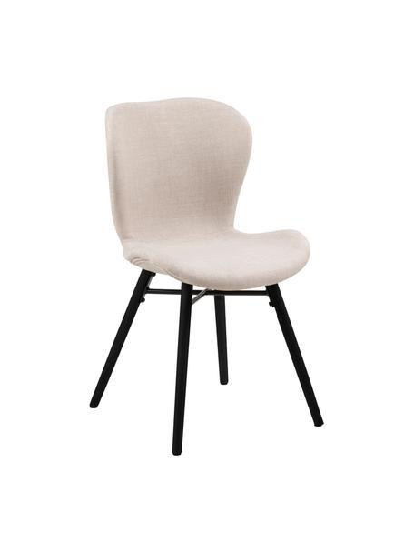 Gestoffeerde stoelen Batilda in beige, 2 stuks, Bekleding: 100% polyester, Poten: rubberhout, gecoat, Beige, zwart, 47 x 53 cm