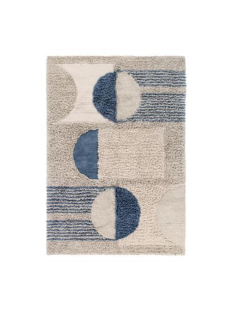 Alfombra lavable de lana Woolable Sunray, Parte superior: 100%lana, Reverso: algodón reciclado, Beige, color arena, marrón, azul oscuro, An 170 x L 240 cm (Tamaño M)