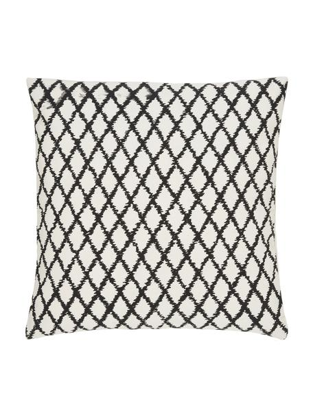 Federa arredo fantasia color bianco crema/nero Twila, 100% cotone, Bianco, nero, Larg. 45 x Lung. 45 cm