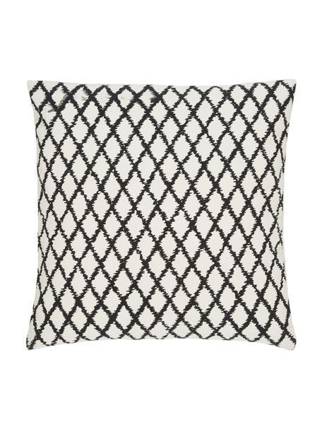 Gemusterte Kissenhülle Twila in Cremeweiß/Schwarz, 100% Baumwolle, Weiß, Schwarz, 45 x 45 cm