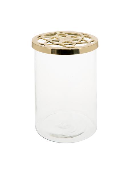 Vaso per fiori in vetro con coperchio in metallo Lily, Vaso: vetro, Coperchio: ottone, Vaso: trasparente Coperchio: ottone, Ø 13 x A 19 cm