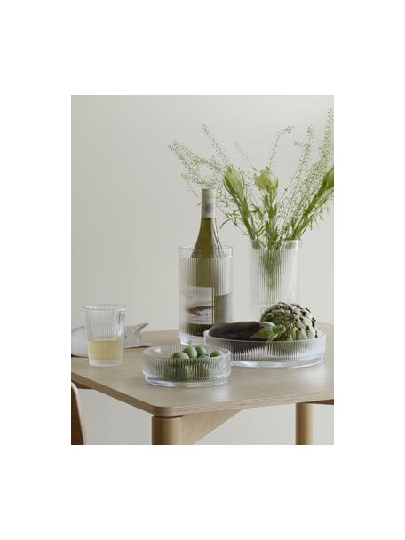 Glazen flessenkoeler Pilastro met groefreliëf, Glas, Transparant, Ø 11 x H 20 cm